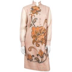 1970s Alfred Shaheen Tan Autumn Dress