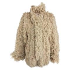 Arissa France Bone Faux Fur Jacket and Scarf 1980s