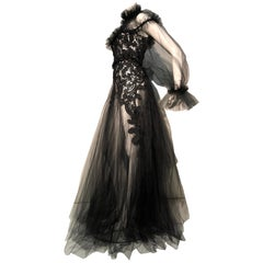 Torso Creations Victorian Black Lace High Collar & Black Tulle Goth Gown W/ Sash