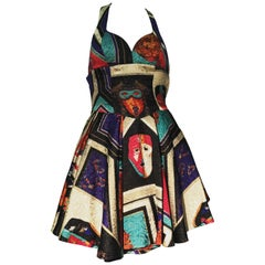 1992 Gianni Versace Masquerade-Inspired Silk Brocade Flared Mini Halter Dress