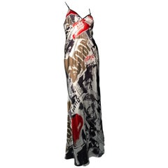 2000s John Galliano Unworn Silk Newsprint Bias-Cut Slip Gown Dress