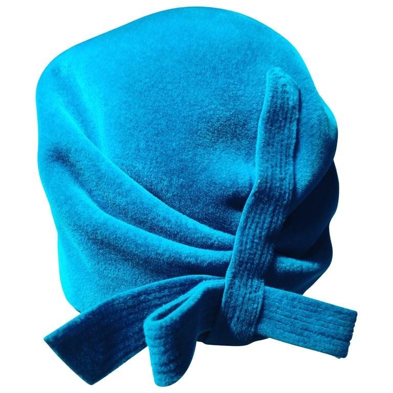 c1bdd56c811 1960s Azure Blue Hubert de Givenchy Velour Fur Felt Mod Bubble Hat W  Bow  For