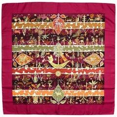 Hermes Burgundy Rives Fertiles 90cm Silk Scarf