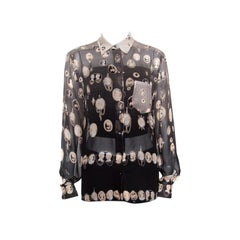 Jean Paul Gaultier Victorian Printed Sheer Silk Studded Shirt M