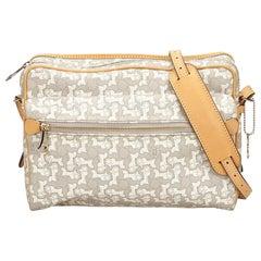 Celine White Jacquard Crossbody Bag