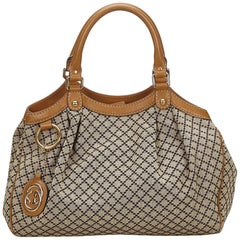 Gucci Brown Diamante Canvas Sukey Handbag