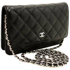 CHANEL Black WOC Wallet On Chain Shoulder Crossbody Bag Clutch