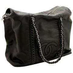 CHANEL Luxury Line Large Shoulder Bag Tote Black Silver Lambskin