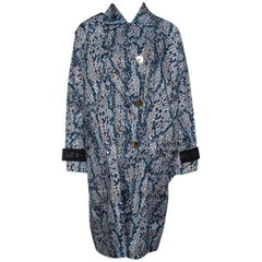 Kenzo Multicolor Animal Scale Printed Lightweight Volume Trench Coat XS