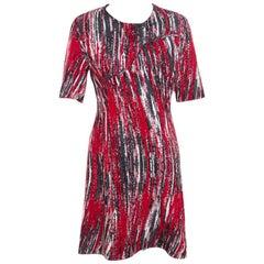 Kenzo Multicolor Jacquard Knit Curved Overlap Bodice Detail Dress XL