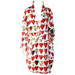 Vintage Gianni Versace Hearts Print Terrycloth Bathrobe Coat