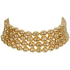 Karl Lagerfeld Vintage Multi Layer Pearl Choker Necklace