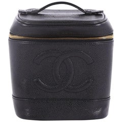 Chanel Vintage Timeless Cosmetic Case Caviar Tall