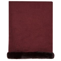 Verheyen London Mink Fur Trimmed Cashmere Shawl Scarf in Rich Burgundy Gift