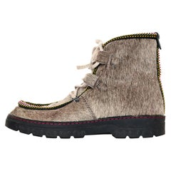 Penelope Chilvers Taupe Calf Hair Bootie W/ Shearling Lining & Multicolor Trim S