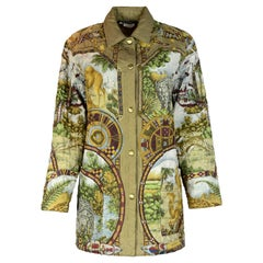 Salvatore Ferragamo Camel, Elephant, Leopard Animal Printed Quilted Jacket Sz S