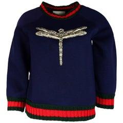 Gucci Navy Crystal Dragonfly Sweatshirt Sweater W/ Knit Web Trim Sz S