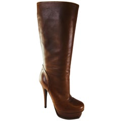 Yves Saint Laurent Tan Knee High Boots