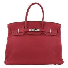 Hermes Birkin Handbag Rubis Togo with Palladium Hardware 35