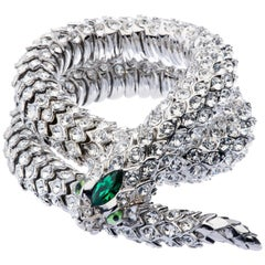 Simon Harrison Green Crystal Snake Necklace and Bracelet