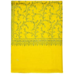 Hand Embroidered 100% Cashmere Shawl in Yellow Made in Kashmir India
