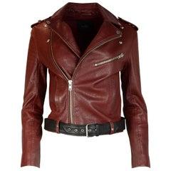 Maje Burgundy Leather Moto Jacket W/ Black Belt Sz 36