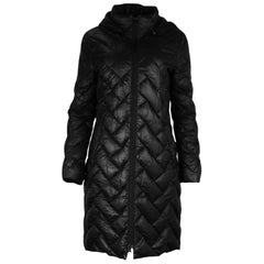 Moncler Black Nylon Puffer Coat W/ Detachable Hood Sz 2