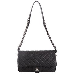 Chanel Airlines Chain Flap Bag Quilted Goatskin Small