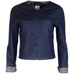 Chanel Identification Blue Denim Glitter Jacket W/ Cuff Sleeves Sz 40