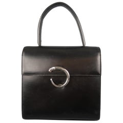 Vintage 1990 CARTIER Black Leather Silver Panther Closure Handbag