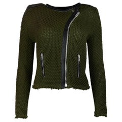 IRO Green Knit Miali Asymmetrical Zip Jacket W/ Black Leather Trim/Raw Hem Sz 0