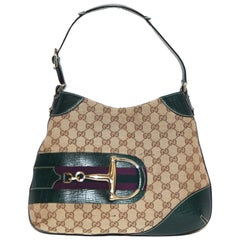 Gucci Beige & Brown Monogram Shoulder Bag with Green Leather Accents