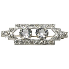 Art Deco Clear Prong Set Crystal Rectangular Pin in Silver Tone