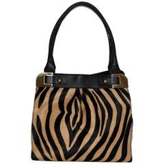 Paolo Masi Zebra Print Pony Hair and Leather Handbag