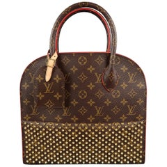 LOUIS VUITTON Brown Studded Monogram Iconoclasts Christian Louboutin Handbag