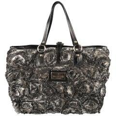 VALENTINO Black & White Silk Rosette ROSIER Patent Leather Tote Bag