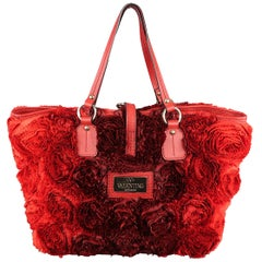 VALENTINO Red & Burgundy Ombre Silk Rosette & Red Leather ROSIER Tote Bag