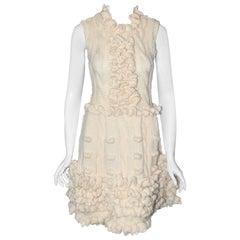 Miu Miu Ivory  Virgin Wool Handmade Crochet Dress 2014 Runway