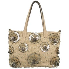Valentino Muted Pink Leather Beaded Rhinestone Payette Flower Tote Bag