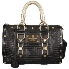 VERSACE Black & Gold Studded Leather Greca Quilted Tote Handbag