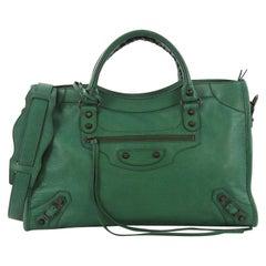 Balenciaga City Classic Studs Handbag Lizard Embossed Leather Medium