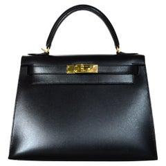 Hermes 2001 Black Box Leather 28cm Rigid Sellier Kelly Bag GHW