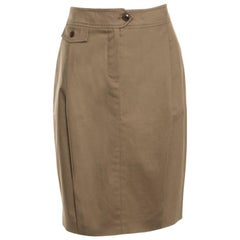 Max Mara Brown Cotton Pleat Front Pencil Skirt M