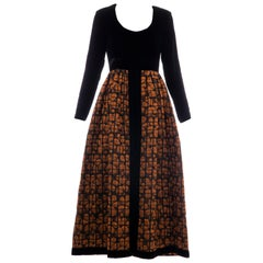 Lillie Rubin Black Silk Velvet Copper Quilted Skirt Evening Dress, Circa: 1970's