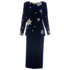 Hanae Mori Silk Blue Velvet Silver Embroidery Evening Skirt Suit, Circa: 1980's