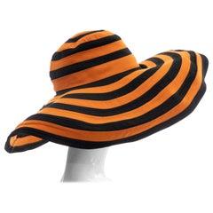 Prada Runway Striped Orange & Black Wide Brim Hat, Spring 2011