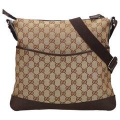 Gucci Brown Guccissima Canvas Crossbody Bag