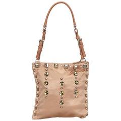 Prada Pink Studded Satin Shoulder Bag