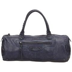 Balenciaga Blue Motocross Leather Handbag