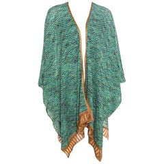 Missoni Multicolor Perforated Lurex Knit Open Front Poncho ( One Size )